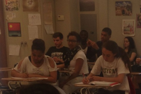 AP students review content in the final month before the tests are administered.