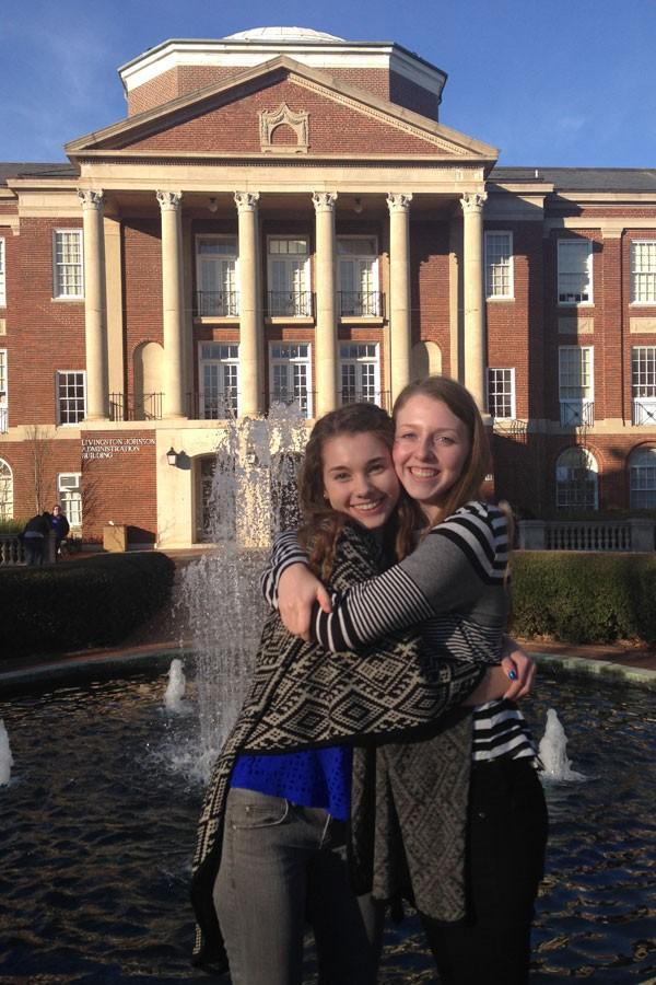 Wakefield students take a moment to enjoy Merediths campus.