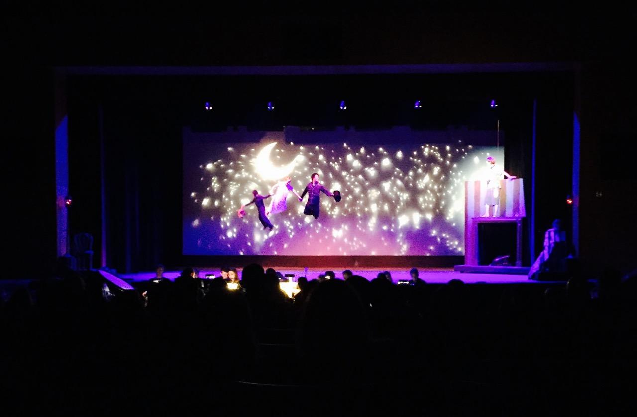 Peter Pan floats across the stage during the Musical.