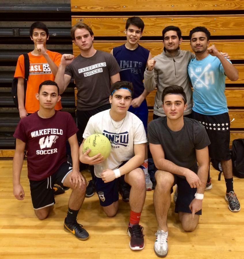 Sheen Montazeri and his team pose before playing in the quarter-finals of the Relay for Life soccer tournament.