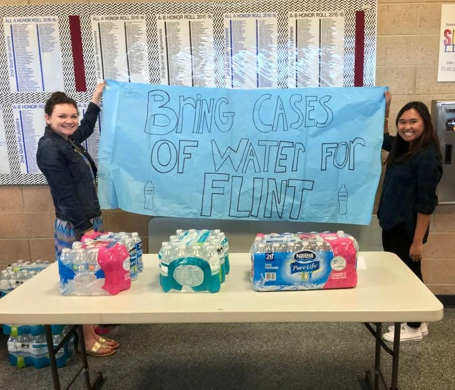 Student Ambassadors collect water for Flint Michigan.