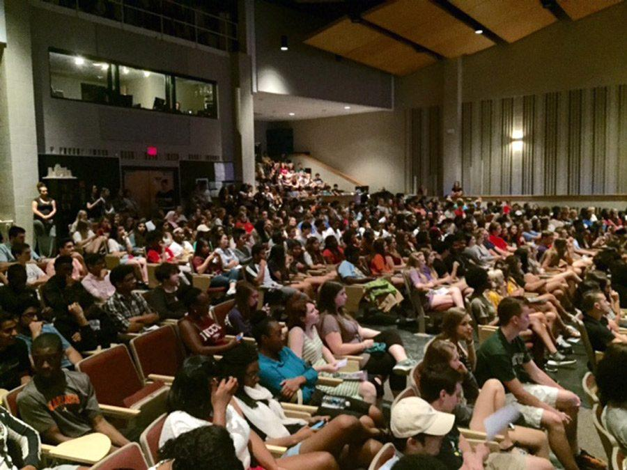 Seniors celebrate the talent of their peers at the senior talent show.
