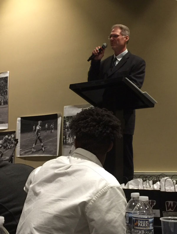 Coach Sink speaking at his last football banquet at Wakefield.