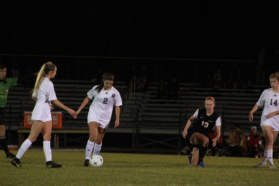 Kaitlyn Bouck prepares to kick the ball
