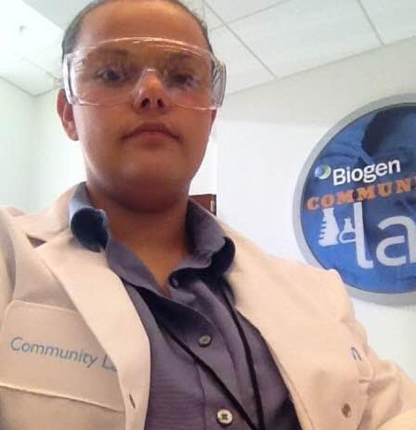Emma Wallace participates in a lab for Biogen Tech's Summer Program.