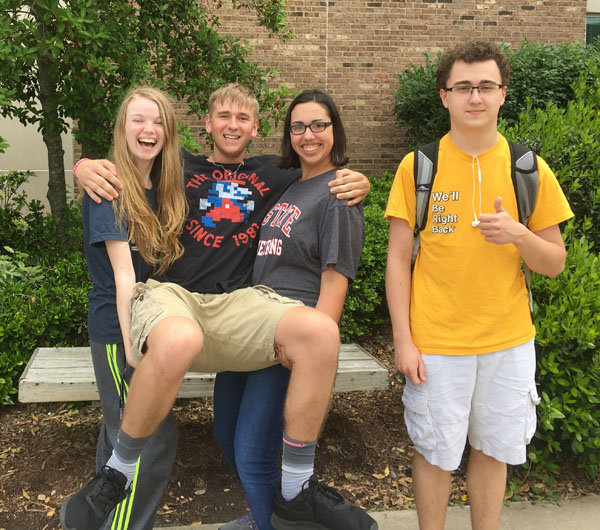 Riley Griffen, Nick Trusch, Samantha Collins, and Ethan Jorge don't hesitate to enjoy their last moments of high school.