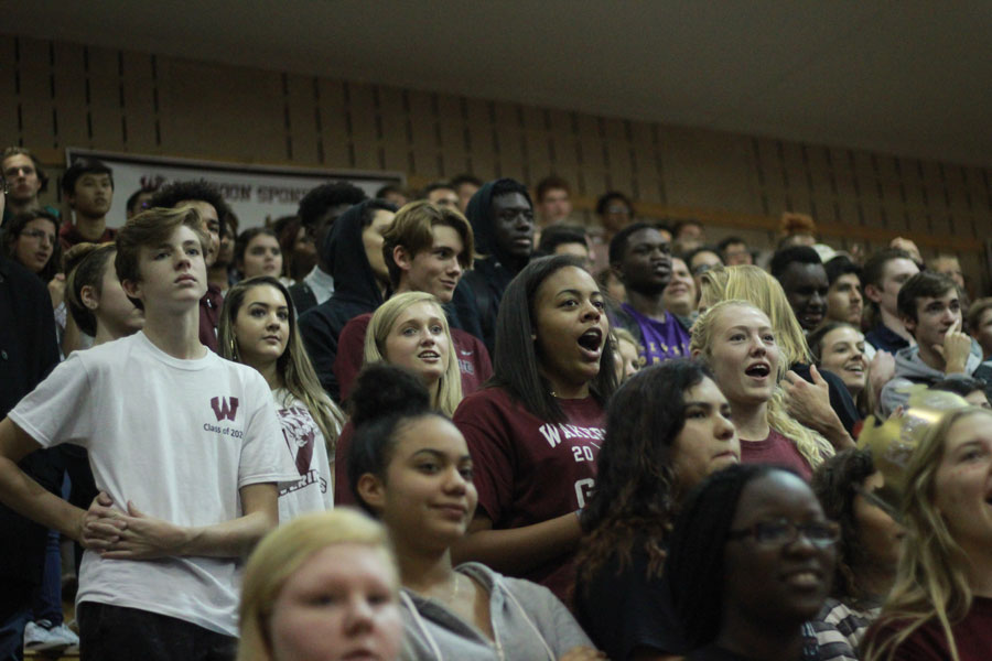 Students react excitedly to the pep rally.
