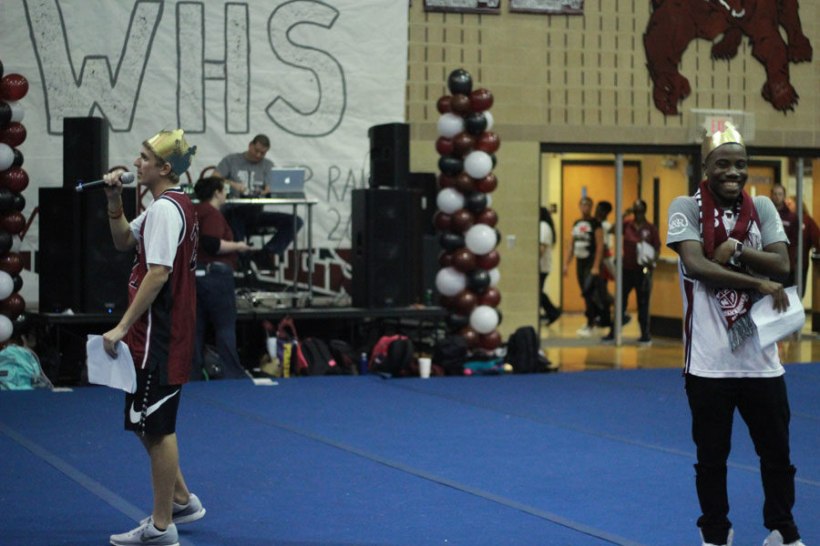 Seniors, Ben Luther and Daniel Ojiimadu hype up the crowd for the pep rally.