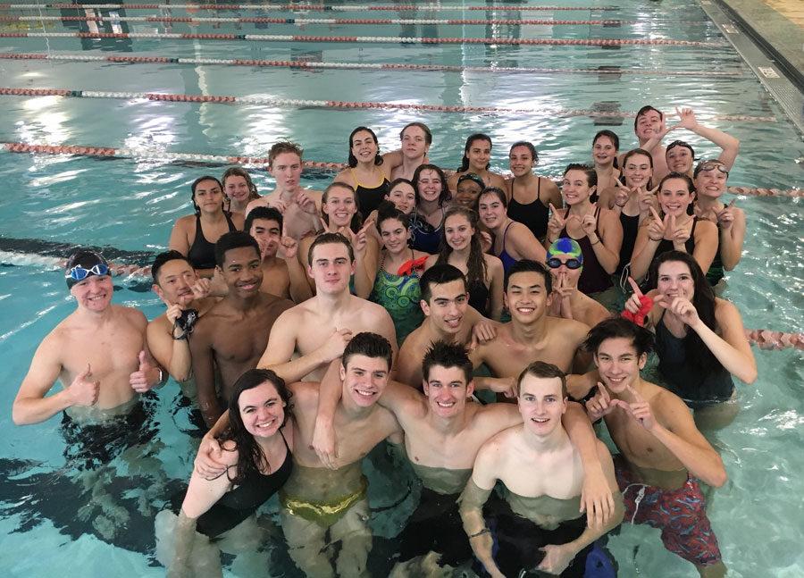 The+Wakefield+Swim+team+celebrates+a+successful+practice.