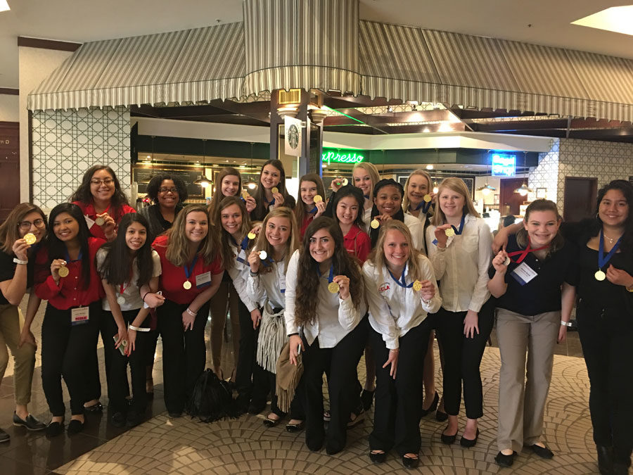 FCCLA+celebrates+all+their+gold+medals+won+at+the+State+Star+Events+in+Greensboro.+