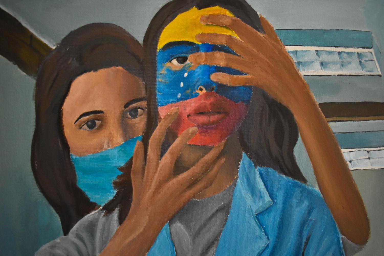 Senior Sabrina Hurtado painted this portrait to represent Spanish Heritage Month, showing her Spanish heritage.
