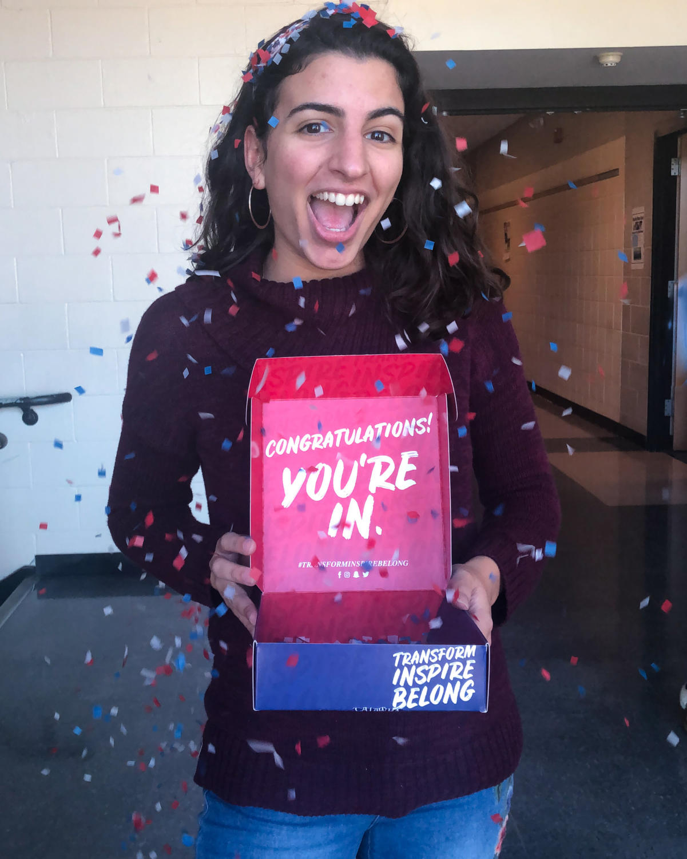 Senior Sabrina Hutado celebrates getting into college!