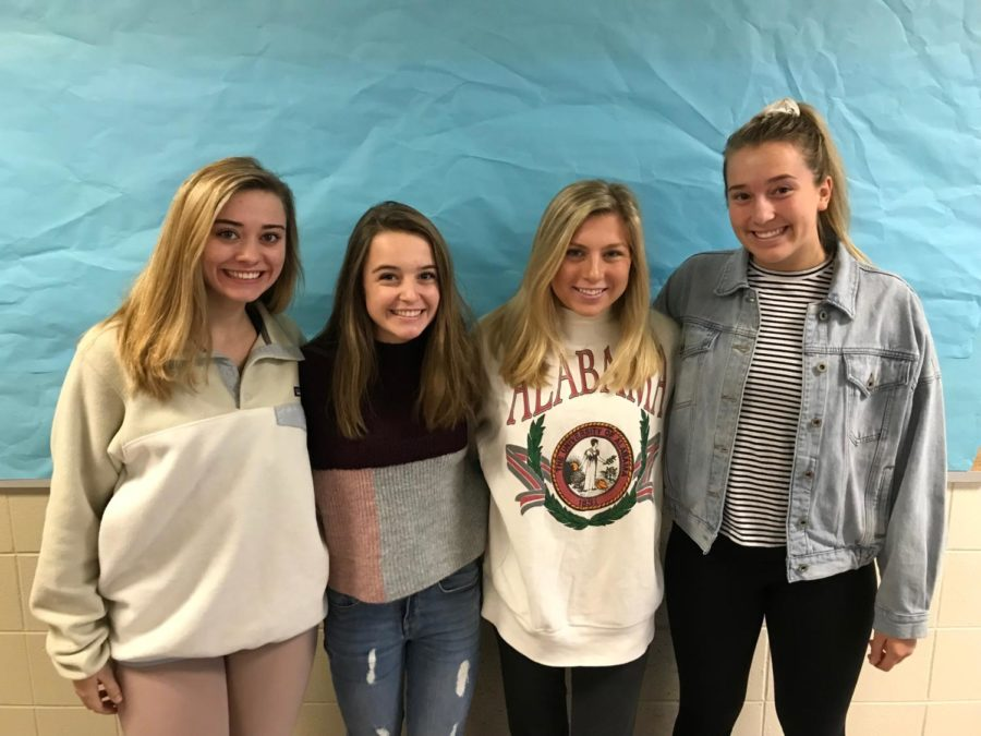 Beta Club officers Seniors Brynn Moore, Brennan Elms, and Juniors Allison Raybon, and Anna Garst pose for a picture.