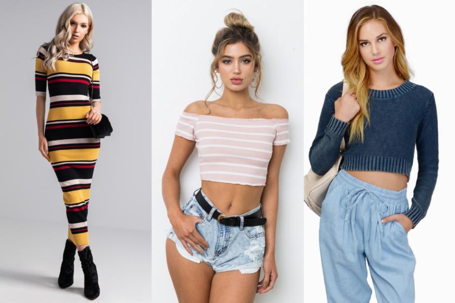 Horizontal stripes, sweaters, long-sleeve crop tops