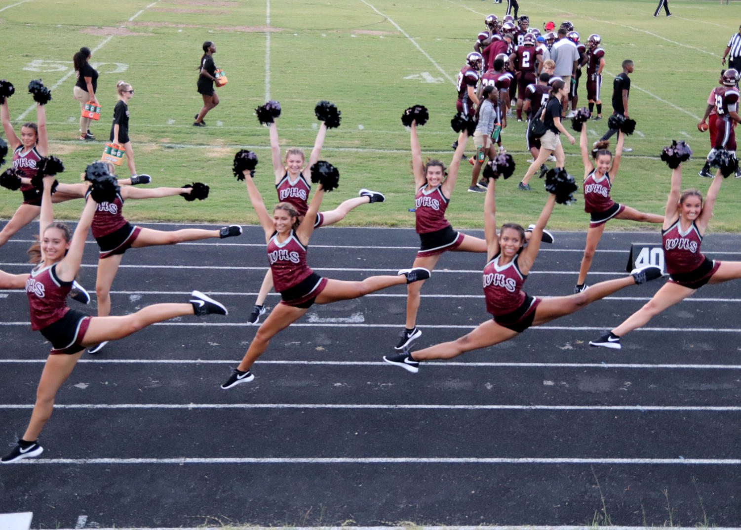 WHS Dance Team entertains the student body during football games.
