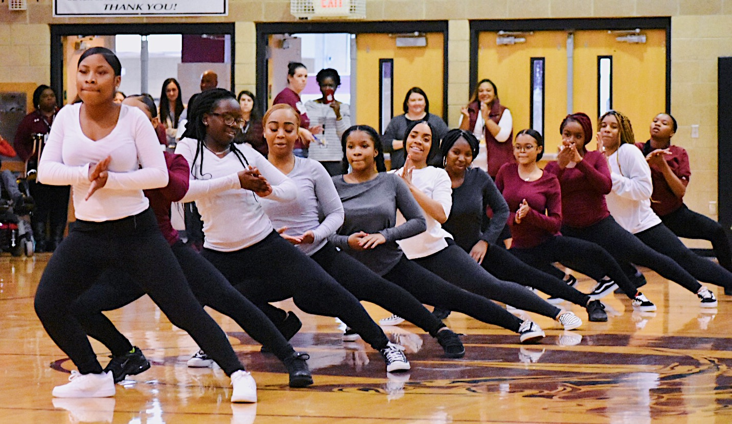 Wakefield's step team nails their first performance at the basketball pep rally.