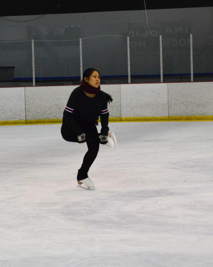 Sophomore Hye-Lynn Kim works to perfect her mushroom sit spin