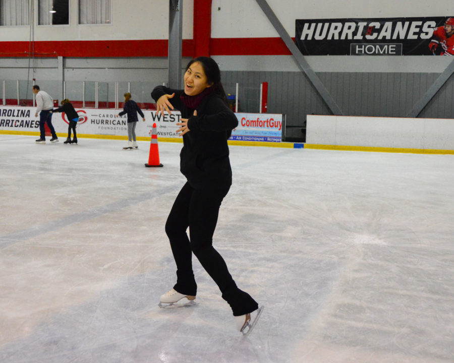 Sophomore Hye-Lynn Kim fools around on the ice