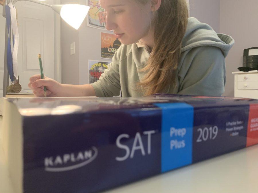 Junior, Sky Ashforth studies for the SAT.