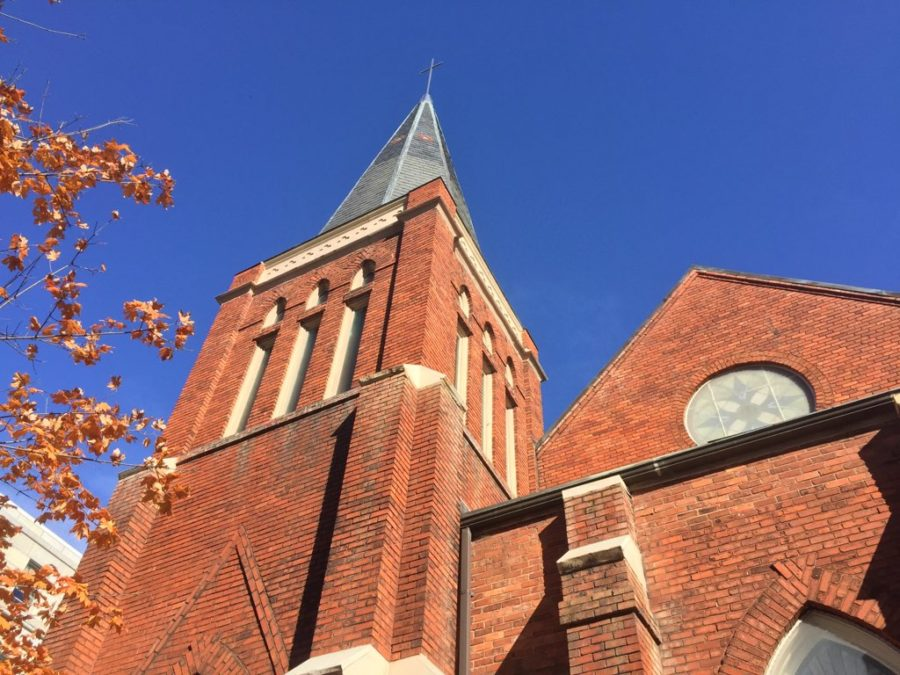 Beautiful architecture on the face of Raleighs Main Street Presbyterian Church