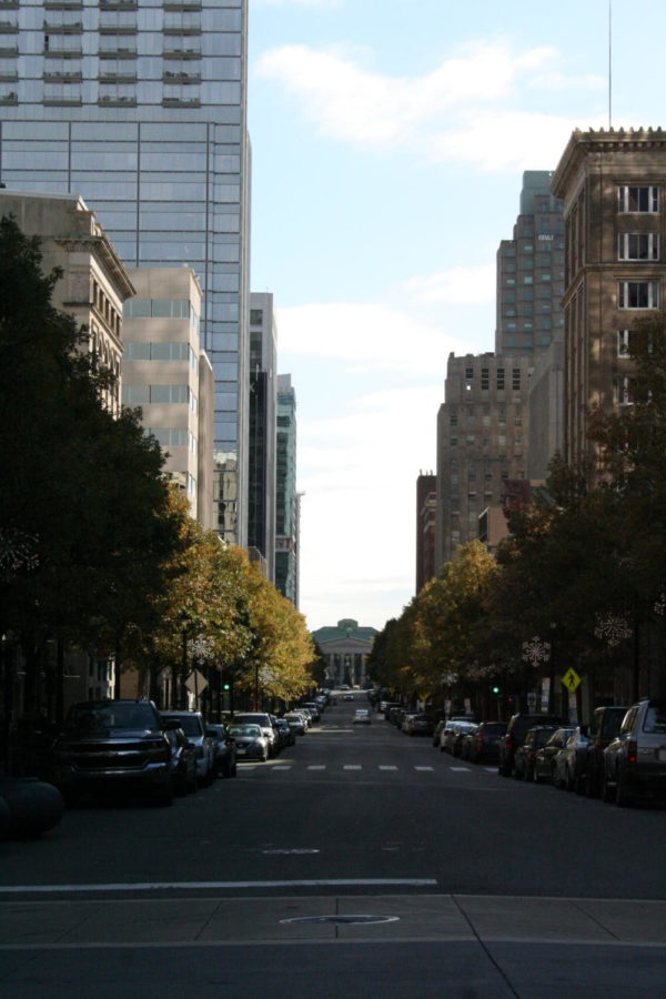 Multicolored oak trees line the heart of the city.