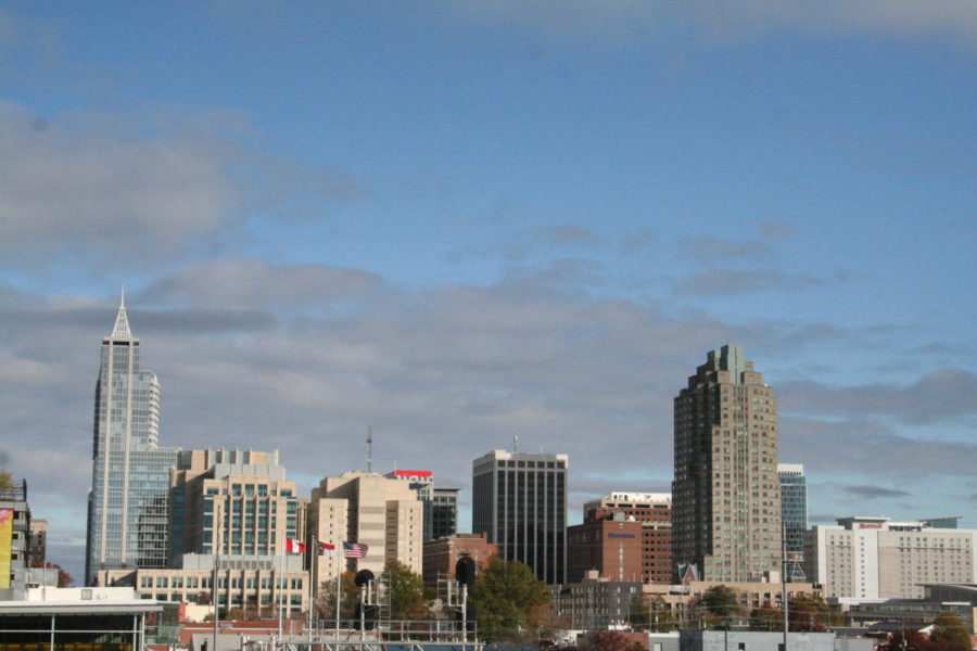 The Raleigh skyline towers over the ralroad under the Boylan Bridge.