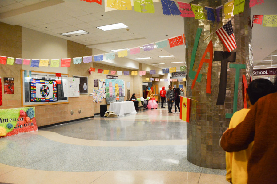 Wakefield High Schools entrance is colorfully decorated.