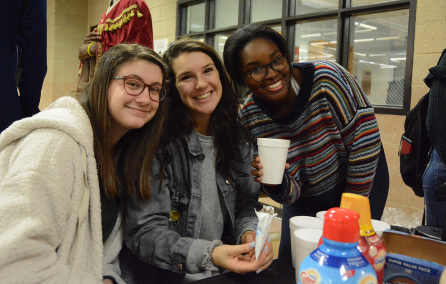 Wakefield students prepare and serve coffee and hot chocolate.