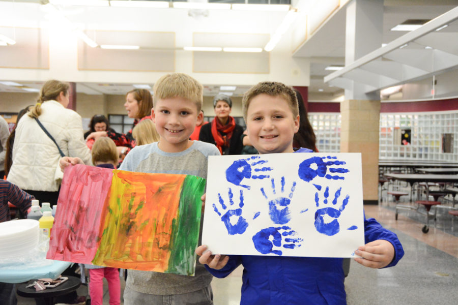 Wakefield Elementary students show off their artwork.