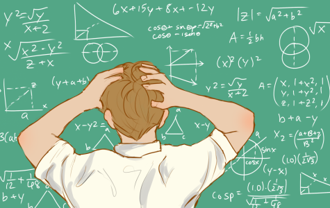 A student is frustrated with math equations on a chalkboard.