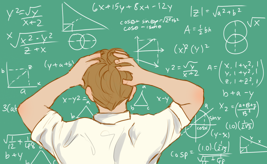 A+student+is+frustrated+with+math+equations+on+a+chalkboard.