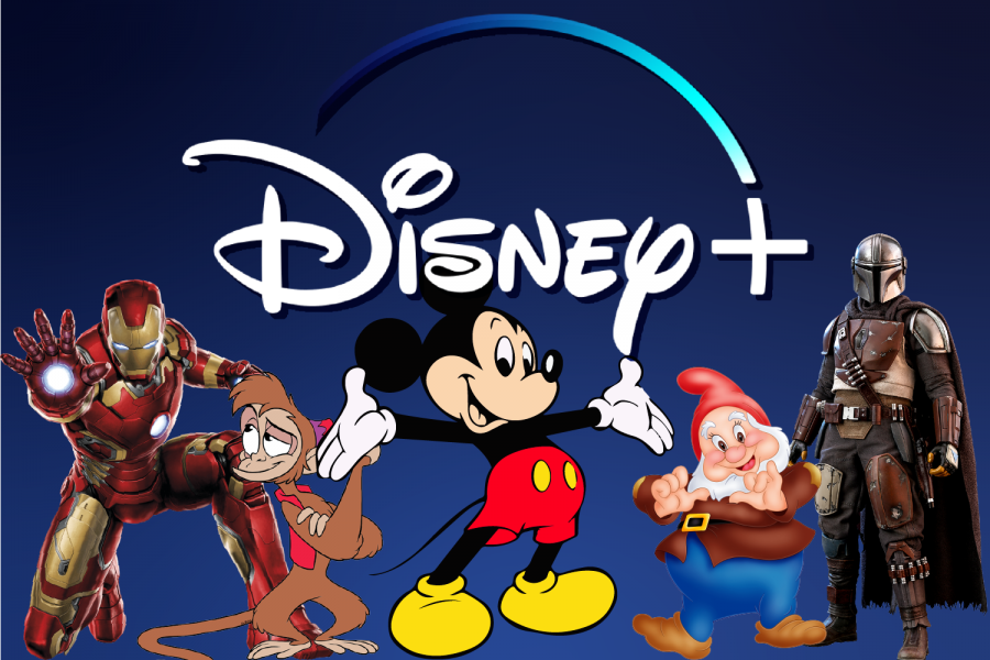 The Disney+ logo featuring many of the characters on the streaming service.