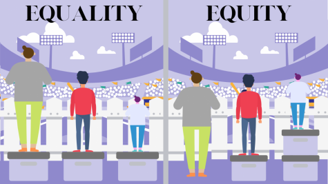 On the left, 3 people stand on an equal amount of crates looking over a fence to watch a baseball game but the shortest one can