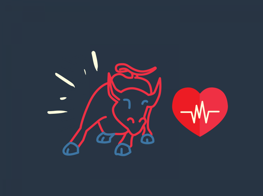 A red bull represents the popular energy drink brand. These substances at large are known for their cardiovascular effects. Graphic by Sage Cooley.