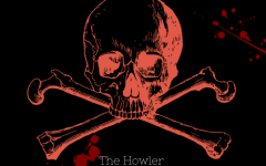 Braught down podcast video logo of a red skull on a black background with red splatters.