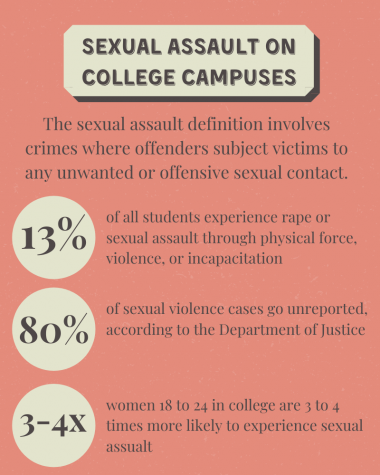 This infographic shows different statics relating to sexual assault on college campuses in the United States.