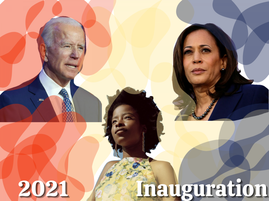 President+Joe+Biden+and+Vice+President+Kamala+Harris+received+their+official+titles+on+Jan.+20%2C+featuring+poet+Amanda+Gorman+and+other+speakers.+Graphic+by+Sage+Cooley.+