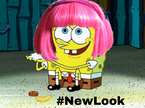 Spongebob Squarepants spends time indoors with his chip and penny, but then finds a new way to have fun: trying out a bold hairdo!