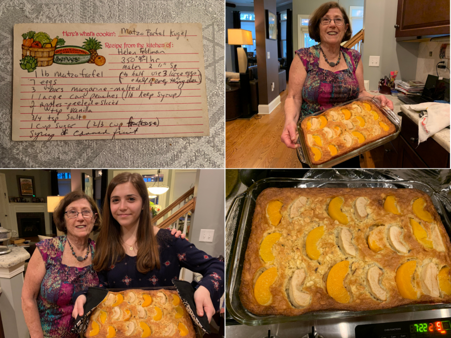 Pictured here is the original recipe card written by my great grandma Helen (top left) and my Nana and I holding the finished sweet kugel before our Passover Seder.
