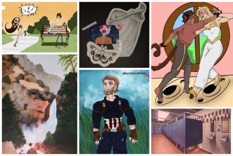 This is a collage of artwork from three Wakefield High School students.